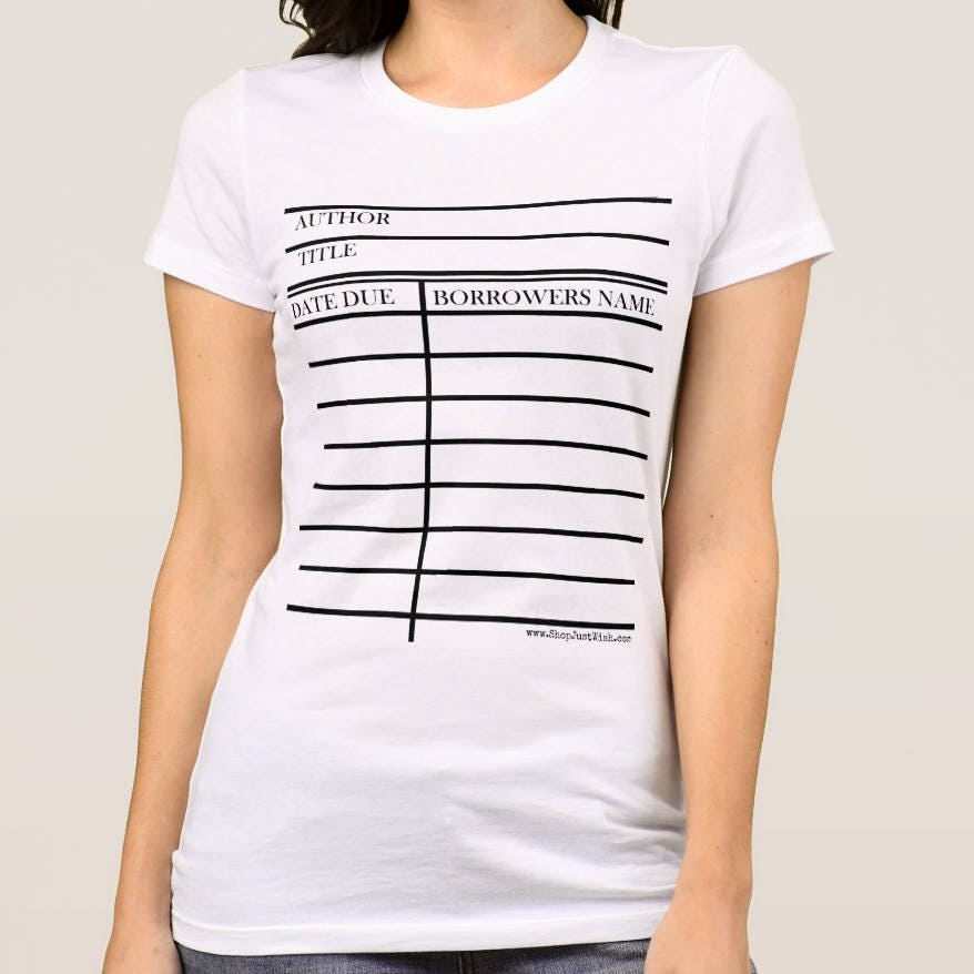 Library Due Date Card Graphic© T-shirt for Guys & Gals.