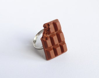 Cute milk chocolate bar adjustable ring candy sweet cute miniature food sweettooth jewelry handmade polymer clay