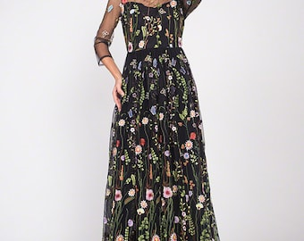 Black Lace Maxi Dress with Three Quarter Sleeves - Colorful Lace Dress - Black Schiffli Lace - Prom Dress - Evening Dress C10