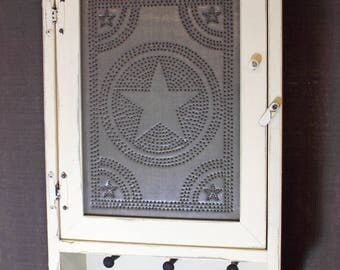 Country Rustic Distressed Cabinet with Pegs in Olde Parchment