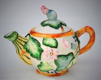 Vintage Tea Pot, Collectible Majolica Style, Raised Squash Blossoms, Vines, Berries & Flowers, Shabby Cottage Chic, Garden Theme Decor