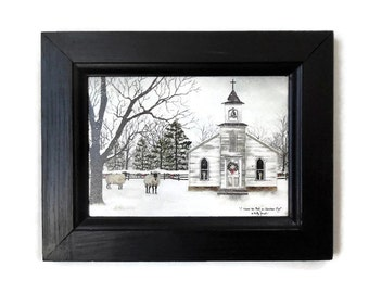 Christmas Decor, I Heard the Bells on Christmas Day, Billy Jacobs, Sheep, Church, Art Print, Handmade, 9x7, Custom Wood Frame,  Made in USA