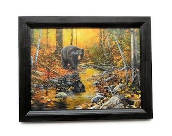Bear Picture, Wildlife Art, Jim Hansel Print, Rustic Decor, Wall Hanging, Art Print, Handmade, 19X15, Custom Wood Frame, Made in the USA