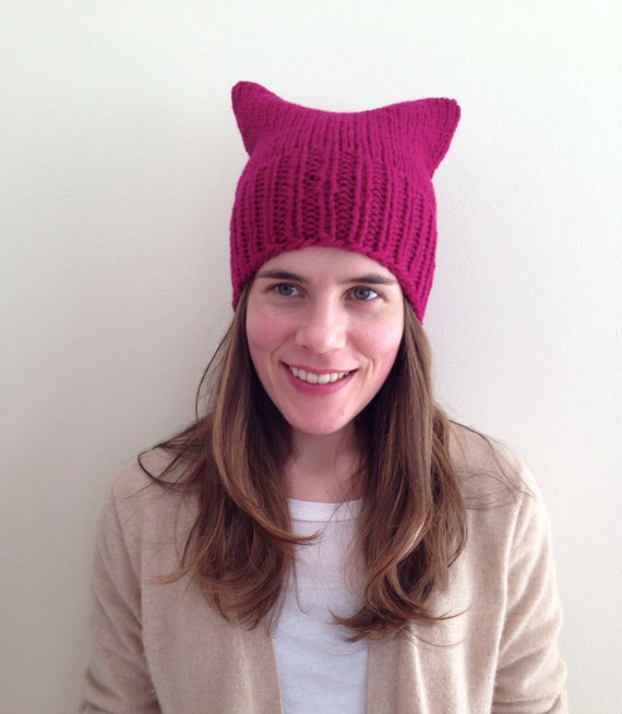 READY TO SHIP Bright raspberry pink 100% wool pussy hat cat ear hat hand knit knitted