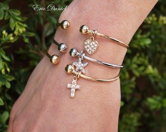 Stackable Cuff Bracelets Heart Cross Starfish, Choose Your Charms and Colors, Cross Cuff Bracelet, Starfish Cuff, Stackable Bracelet