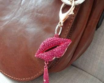 Hot Pink Lips Purse Charm, Purse Bling, Handbag Charm, Pink Rhinestone Zipper Charm, Pink Lips Keychain, Lips Pendant, Pink Zipper Pull