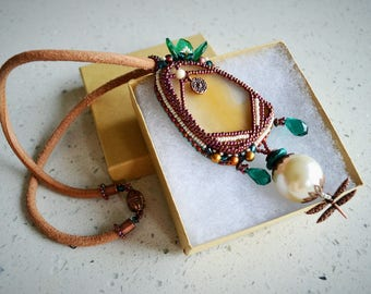 """Bead Embroidered Necklace """"Pearl and Dragonfly"""""""