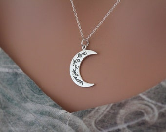 Sterling Silver Love You to the Moon Charm Necklace, Love You to the Moon Necklace, Love You to the Moon Pendant Necklace