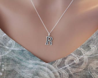 Sterling Silver Uppercase R Initial Charm Necklace, Oxidized Sterling Silver Uppercase R Letter Necklace, Uppercase R Necklace, Uppercase R