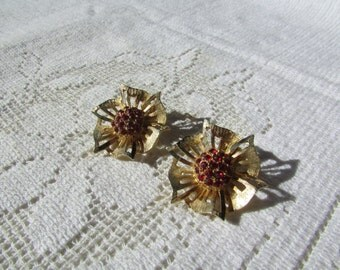 Vintage pleated flowers with red rhinestone clip on  earrings