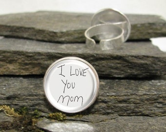 Your Handwriting Ring, Personalized Photo Ring, Personalized Adjustable Ring, Your Photo Ring