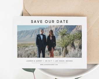 Save the Date Photo Announcement | Printable Save the Date | Save the Date Photo Card | JPG or PDF Template | Simple Save The Date | SD-012