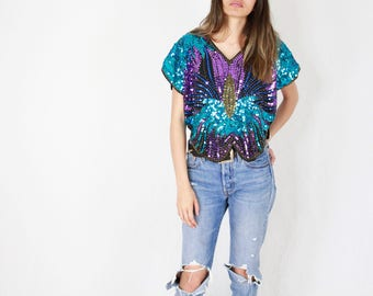 80's Sequined Blouse // beaded blouse, shiny top, sequined top, ladies blouse, butterfly, hand embroidered, designer