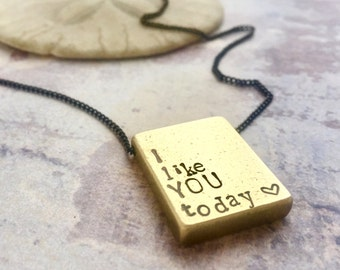 Personalized men jewelry, I like you today, Valentines gift, Custom hand stamped mantra necklace, custom name necklace, men necklace