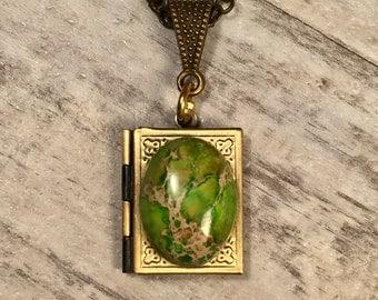 Green Jasper Brass Book Locket Necklace, Locket Keepsake, Dragons Egg, Easter Egg, Jasper Sea Sediment Fantasy Jewelry Steampunk Jewelry