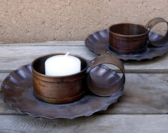 Vintage Copper Candle Holders, Pair Of Pfaltzgraff Village Solid Copper Candle Holders, Rustic Copper Candle Holder, Copper Votive Holder