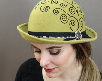 Light Green Hat with Hand Painted Swirl Pattern, Zipper Band and Button