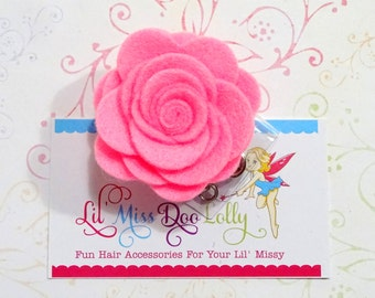 Flower Badge Reel-Hand Rolled Felt Flower- Felt Retractable Nursing ID Badge Holder-Medical Badge Reel-Bright Pink (Set of 1)