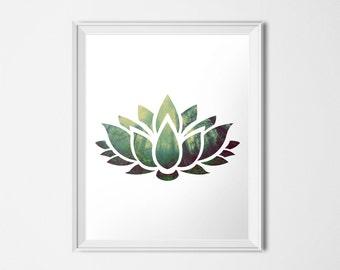 Lotus Print, Green Forest, Fine Art Print, Giclee Print, Zen Print, Lotus Flower Art, 8x10, 16x20, 24x30 Art Poster, Zen Decor, Tree Print