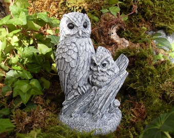 Owl Statue,Garden Owls,Owl and Owlet Statue,Woodland Owl Statue,Barn Owl Statue,Barred Owl Statue,Bird of Prey Statue,Stone