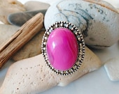 Pink agate ring Adjustable ring Silver Oval ring One of a Kind Handmade Unique Chunky Gemstone ring Hot pink ring Solitaire Cocktail Ring