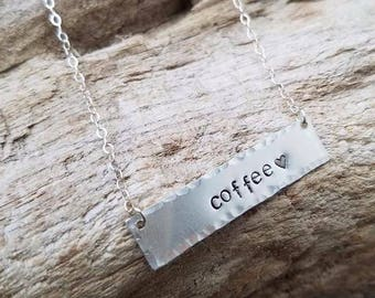 Coffee Necklace.  Sterling silver necklace.  Hand-stamped jewelry.
