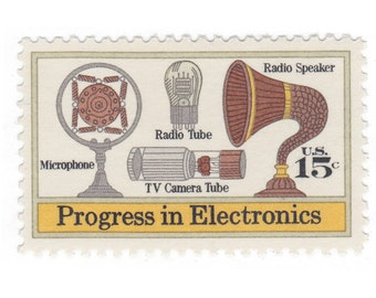 10 Unused Vintage Postage Stamps - 1973 15c Progress in Electronics Microphone and Speaker - Item No. 1502