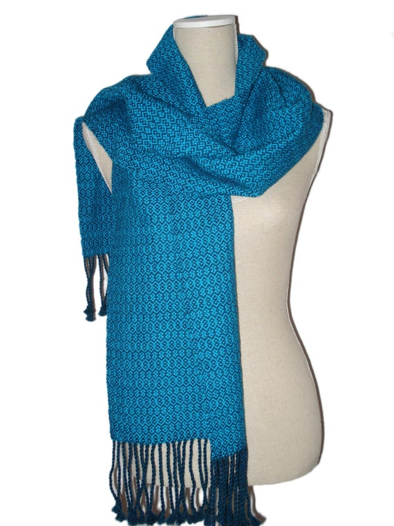 Scarf, 100% Alpaca Wool, Handwoven, colours petrol and turquoise