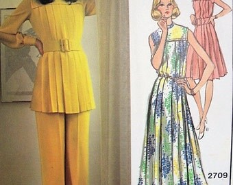 LOVELY 70s Guy Laroche Dress,Tunic and Pants Pattern VOGUE Paris Original 2709  Daytime or Evening Bust 34 Vintage Sewing Pattern UNCUT