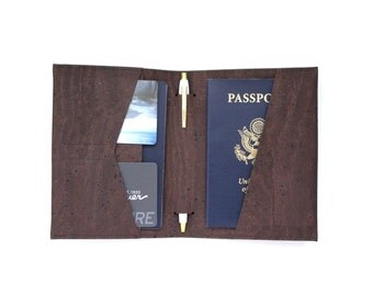 Travel Wallet with Pen Holder in Brown Cork Fabric - Vegan Passport Cover