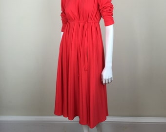 vermillion red accordion pleated dress w/ sash tie 70s