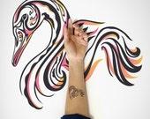Swan Temporary Tattoo / Decorative Swan Temporary Tattoo / Bird Temporary Tattoo / Decorative Animal Temporary Art Tattoo / Body Sticker