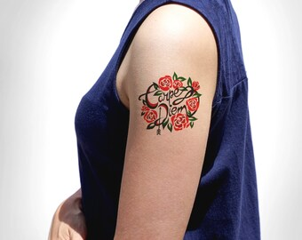Carpe Diem Temporary Tattoo/Seize The Day Temporary Tattoo/Motivational Temporary Tattoo/Inspirational Temporary Tattoo/Flower Flash Tattoo