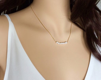 Freshwater Pearl Necklace, Pearl Bar Necklace, Dainty Pearl Necklace, Sterling Silver Pearl Necklace, Gold Pearl Necklace, Minimal Jewellery