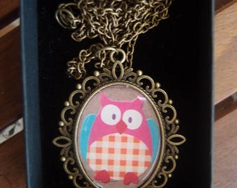 Antique Brass Oval Pendant with Antique Brass Chain - with Cute Owl #1