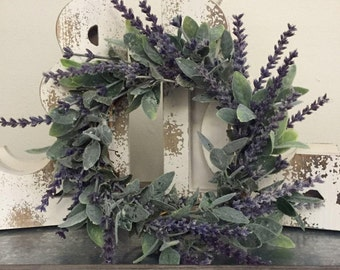 Farmhouse Faux Greenery Lavender And Sage Wreath