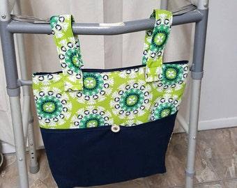 Walker bag tote, Walker bag, tote bag, tote, floral tote bag, gift for Grandma, Grandma gift, walker accessory, purse, bag, made in Michigan