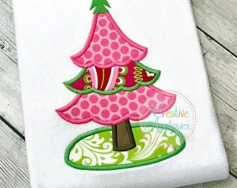 Christmas Tree Applique Digital Machine Embroidery Design 4 Sizes, Christmas Tree embroidery, Christmas applique embroidery