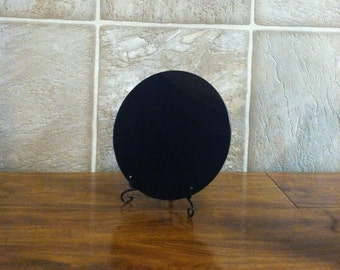"Large 8"" Flat Surface Scrying Mirror with Stand and Pouch"