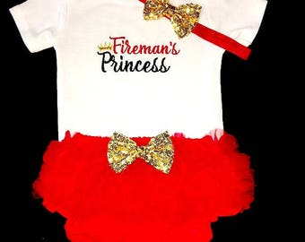 Baby Girl Firefighters Outfit, Girl Firefighters Outfit, Girl Firemans Outfit, Firemans Princess Outfit, Girl Firefighters Clothing