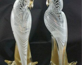 Pair of Murano Venetian Art Glass Cockatoos Latticino Body & Gold Stone