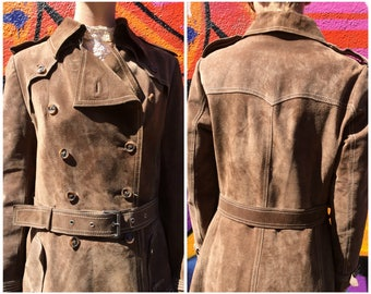 Trench Coat Suede Maxi Coat / Vintage Long Trenchcoat Womens Brown Leather Jacket