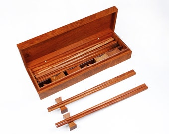 Deluxe Handmade Rosewood Chopsticks (12 Pairs) with 12 Rosewood Rests and Rosewood Organizer Case Set, Natural Wood Chopsticks for Family