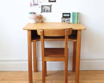 French mid-century wooden children's desk and chair