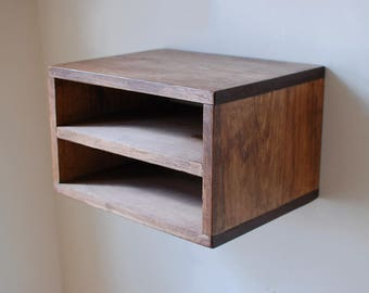2 Shelf Floating Nightstand made from Reclaimed Wood- Walnut