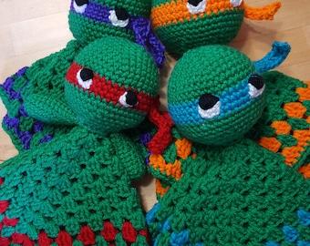 Crochet Teenage style Mutant Ninja Turtle/ crochet safety blankets/