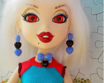 Monster Doll Jewelry,  Doll Earrings Necklace Bratz,  Goth Earrings Necklace,  Blue Black Heart Jewelry, Ever After High, Doll Clothes