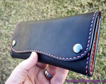 Handcrafted Tri-Fold Long Wallet (Black)