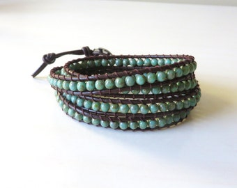 Green Zen Adjustable Leather Beaded Bracelet with Oval Stainless Steel Button
