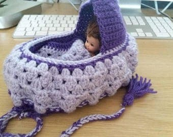 "Crocheted Purse to Cradle, purse to keep the doll in, baby doll cradle purse, small purple purse to fit 4"" doll."